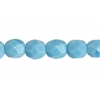 Fire/polished 6mm Opaque Blue Turquoise Strung